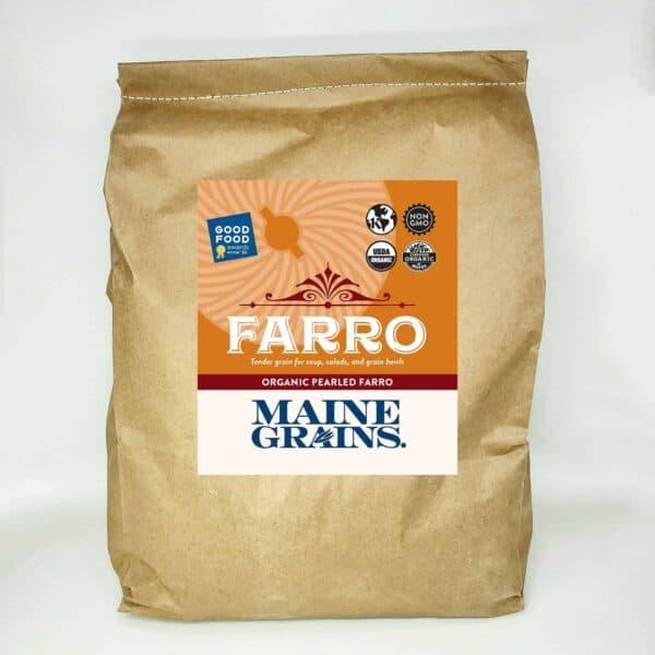A 25# bulk bag of pearled farro in a kraft paper bag.