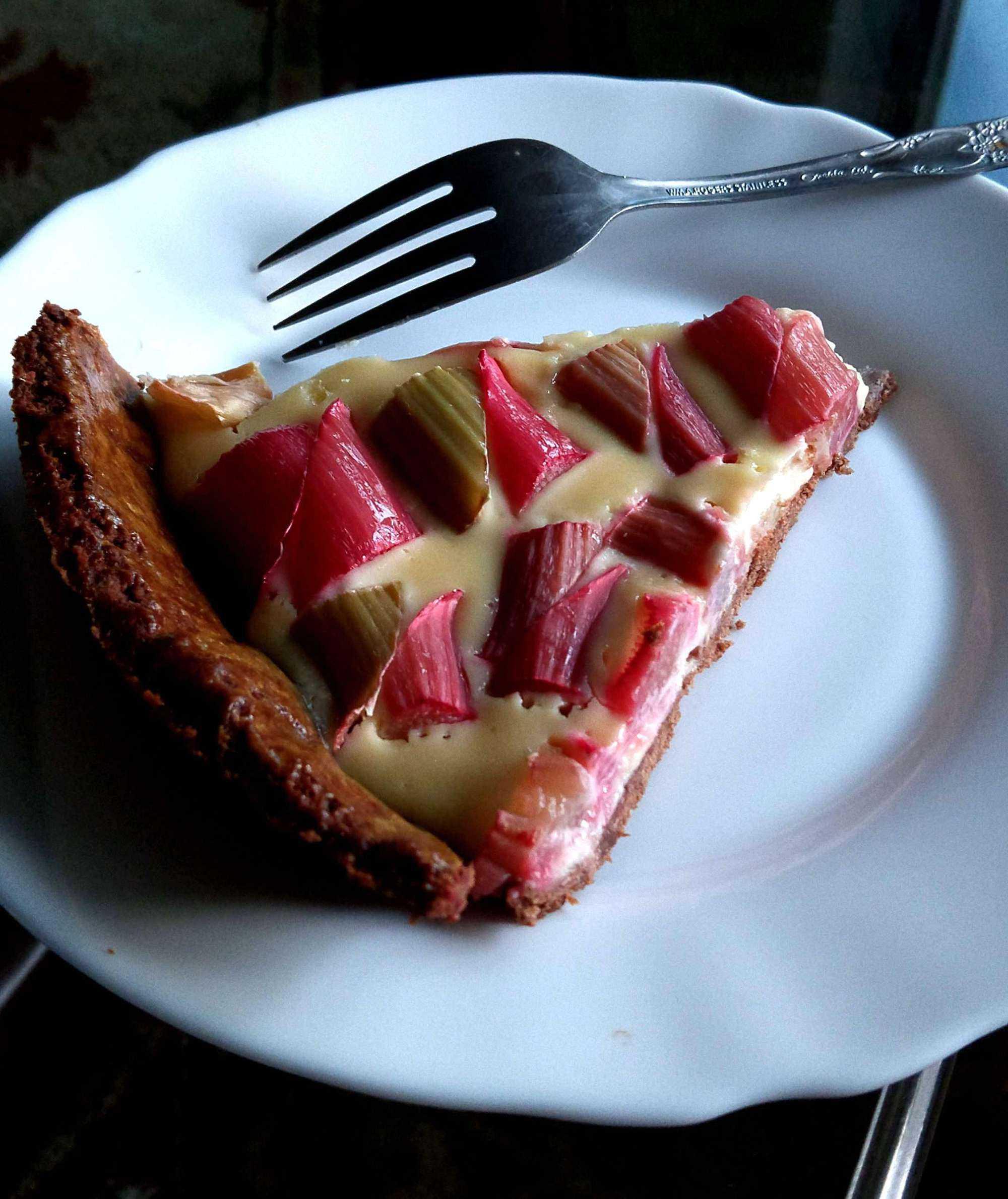 Rye Chocolate Tart with Rhubarb and Honey