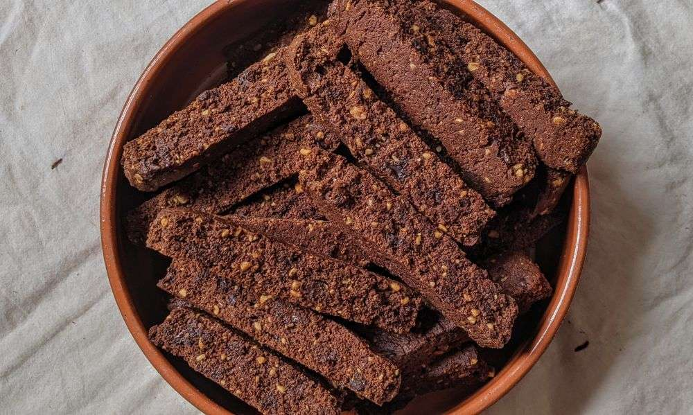spicy chocolate and peanut biscotti